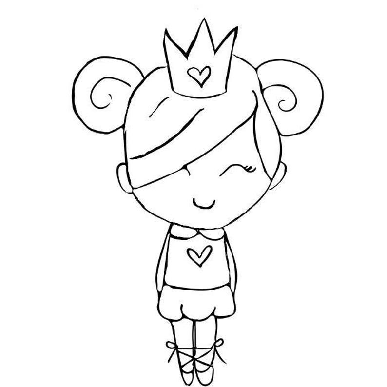 INSTANT DOWNLOAD Little Princess Digital Stamp image 0