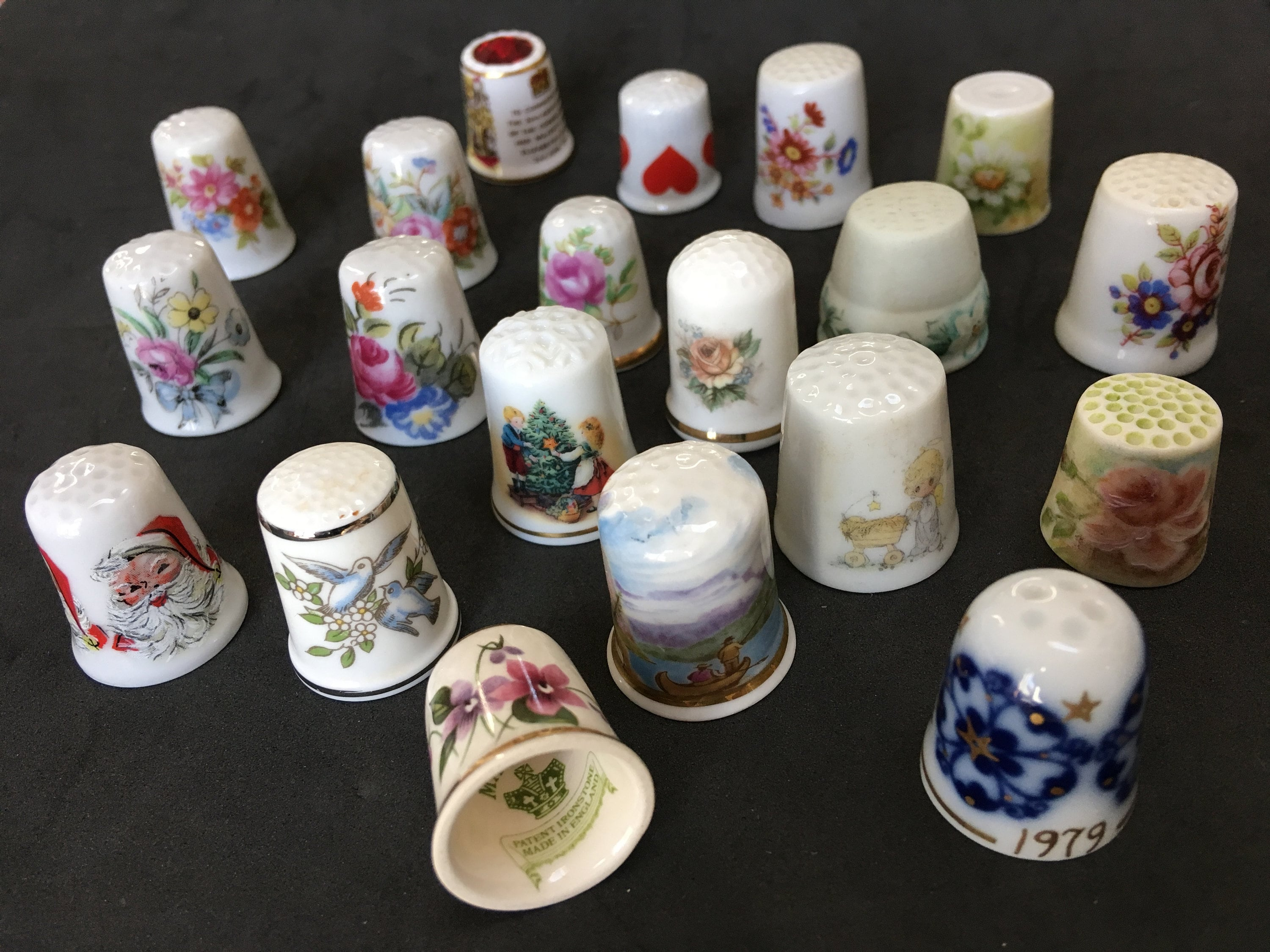 Porcelain China Collectable Thimble Happy Birthday Floral Free Gift Box