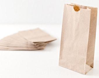 50 Small Brown Bag| Kraft Paper bags |Lunch Bags |Gusset Bag |party favor bag| wedding favor bag | Kraft Bags | 4x8x2.5inches
