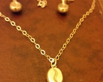Vintage Sterling Silver Coffee Bean Necklace and Earrings Set