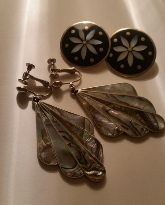 Two Vintage Pairs of Sterling Silver Clip On Earrings with Hematite and Abalone