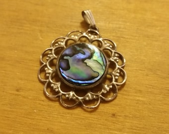 Vintage Abalone and Sterling Silver 925 Pendant