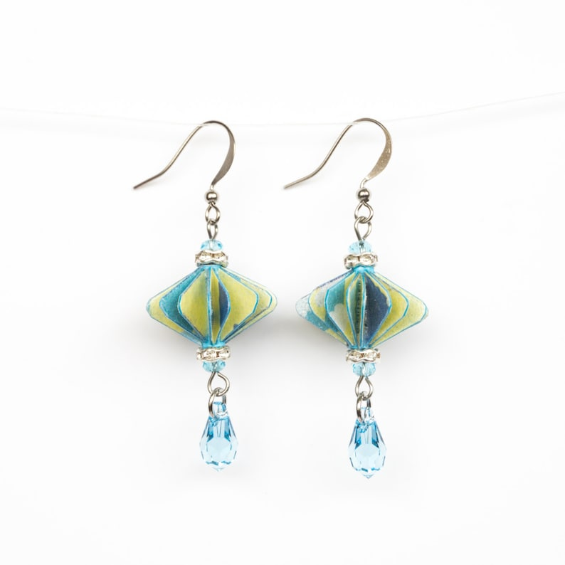 EA53 Yellow /& Blue Rhombus Lantern Earrings Asian Gift Wedding Bridesmaid Daily Party Special Event