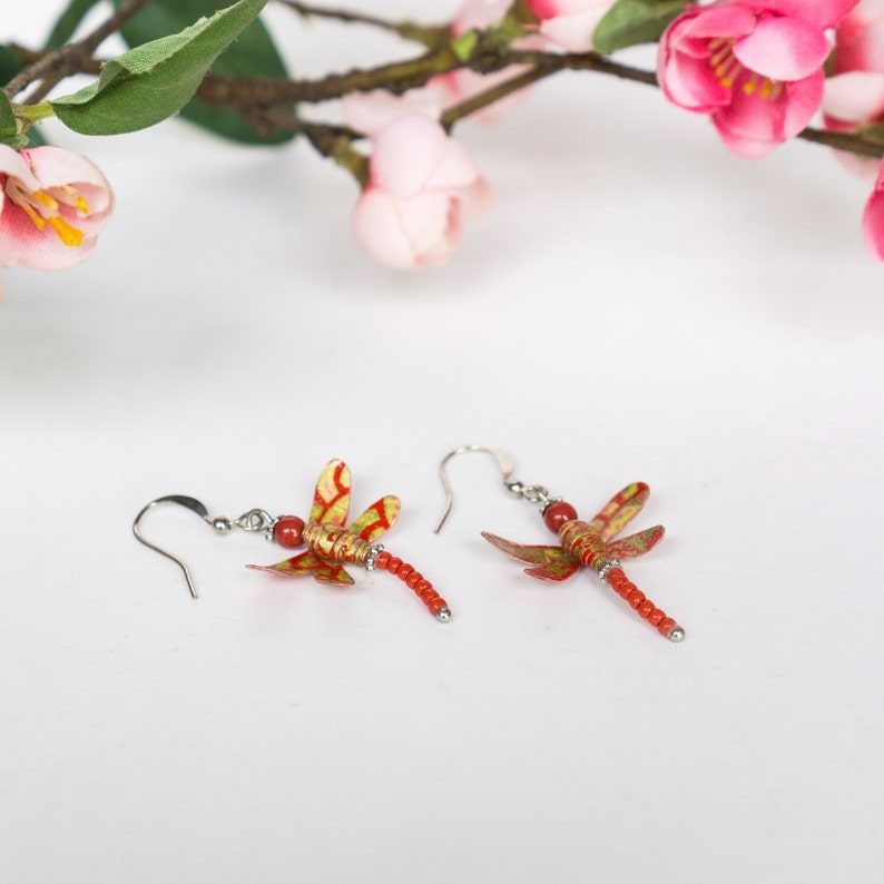 Wedding Daily Party Special Event EA59 Flower Garden Dragonfly Earrings Gift Asian