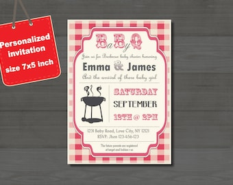 Baby-Q Baby Shower BBQ invitation couples - boy or girl