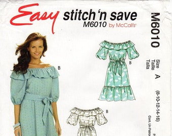 Pick A Size - McCall's Dress Pattern M6010 - Misses' Ruffled Off the Shoulder Dress & Sash in Three Variations - Easy Stitch 'n Save Pattern