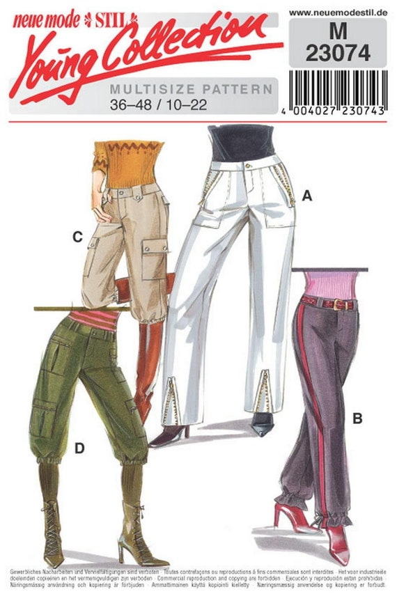 Sz 10 to 22 Misses/' Fly Front Neue Mode Stil Young Collection Straight Leg Pants in Three Trim Variations Neue Mode Pattern M23260