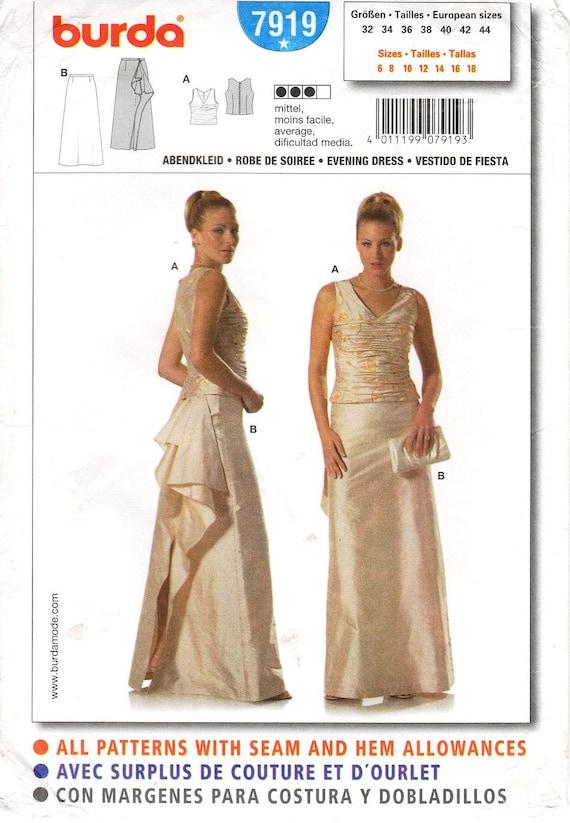 Sz 6 to 18 Burda Dress Pattern 7919 Misses' Two Piece Evening Dress Sleeveless Ruched Top & Draped Back, A Line Skirt Burda Patterns
