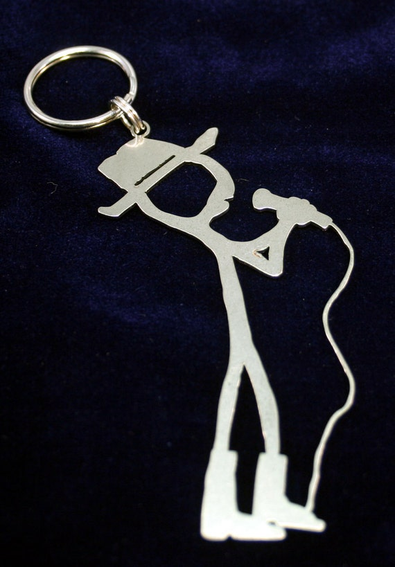 Cowboy Crooner Stainless Steel Key Chain Charm