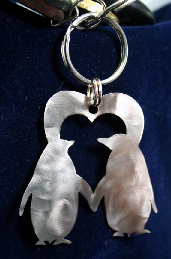 Stainless Steel Penguins Heart Charm Keychain Ornament - Valentines Day or Anniversary gift