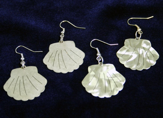 Little Clam Shell Stainless Steel dangly Sea Creature Earrings