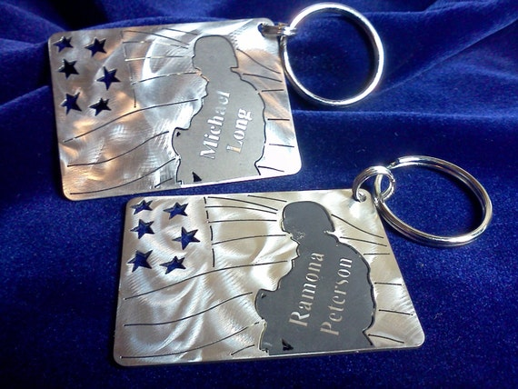 Stars and Stripes Soldier Charm Key chain with Custom Engraving