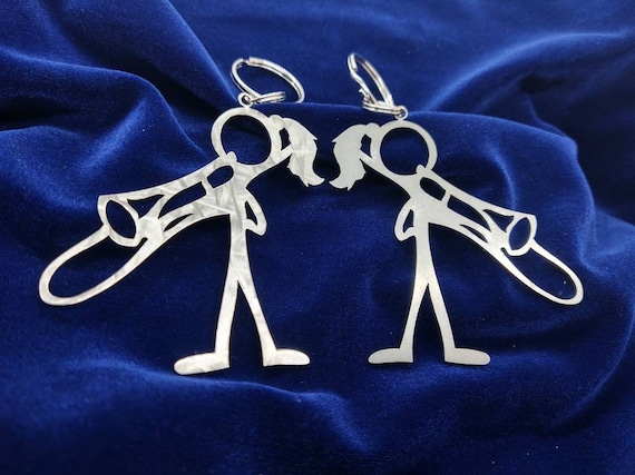 Female Trombone Player Stick Figure Keychain charm