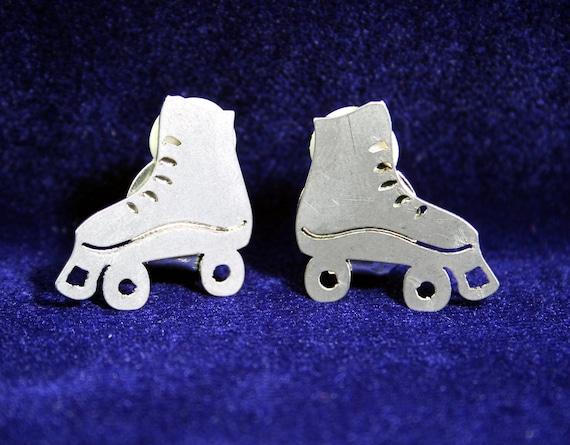 Old School Stainless Steel Roller Skate Clip-On Earrings