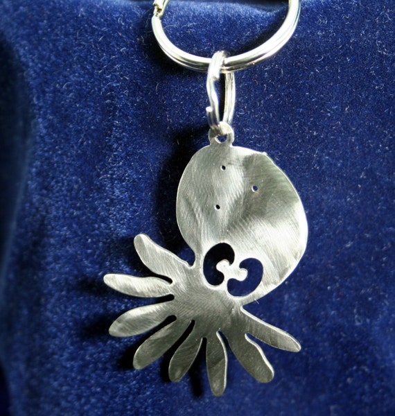 Little Octopus Tide Pool Sea Creature Stainless Steel Keychain Charm