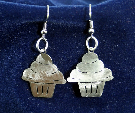 Little Cupcake Stainless Steel dangly Earrings