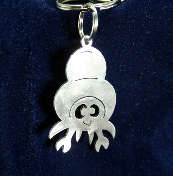 Little Hermit Crab Sea Creature Stainless Steel Keychain Charm