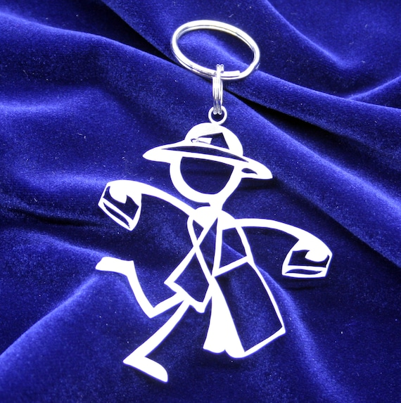 Happy Postal Worker Female Stick Figure KeyChain
