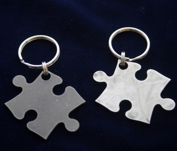 Stainless Steel Puzzle Piece Keychain