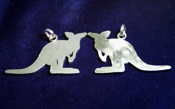 Stainless Steel Kangaroo Silhouette Stick Figure Keychain Charm