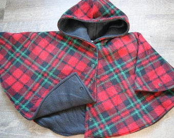 Car Seat Poncho Size 2 Red, Black and Green Plaid Print with Black Lining Snap Front Closure and Wrist Snaps