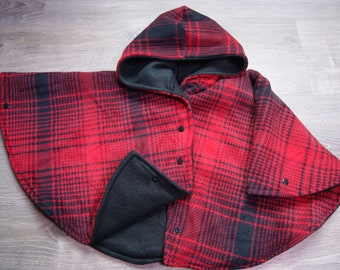 Extra Warm Car Seat Poncho Size 2 Red Plaid Deluxe Fleece with Black Fleece Snaps and Wrist Snaps Carseat Poncho Toddler Car Seat Safe Coat