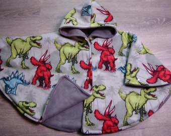 Extra Warm Car Seat Poncho Size 4 Grey Dinosaur Print Carseat Poncho Car Seat Safe Coat Lining Snaps and Wrist Snaps