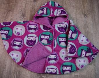 Car Seat Poncho Size 2 Owl Print Carseat Poncho Car Seat Safe Coat Toddler Poncho Wrist Snaps