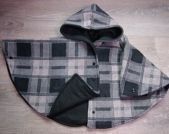 Extra Warm Car Seat Poncho size 2 Grey Plaid Deluxe Fleece with Black Fleece Snaps and Wrist Snaps Carseat Poncho Toddler Car Seat Safe Coat