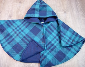 Car Seat Poncho Size 2 Navy and Teal Plaid Print with Navy Lining Snap Front Closure and Wrist Snaps