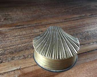 Vintage Brass Shell Trinket Box