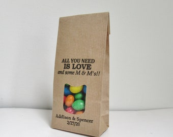 All You Need is Love and M & M's, Rustic Wedding Favor Bags, diy Favor Gifts for Guests
