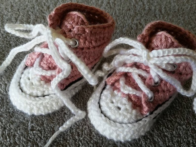0bf66c9ad0aa Hand-crocheted Baby Converse-inspired Tennis Shoes Booties for