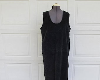 1990s black corduroy jumper dress, pinafore dress, corduroy dress, maxi dress, XL