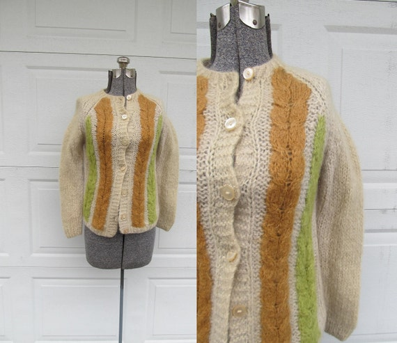 1960s vintage women's sweater, mohair & wool blend