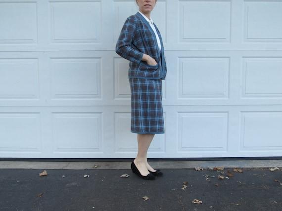 1950s Glengarry plaid knit cardigan and skirt set
