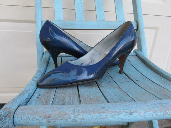 1970s rockabilly blue flame shoes, sz 8 AAA