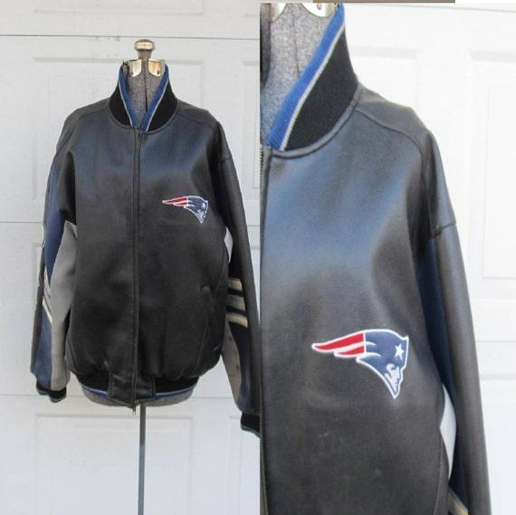 huge discount daa87 ee1fc Men's New England Patriots jacket, varsity coat, bomber jacket, leather  Patriots coat, Large