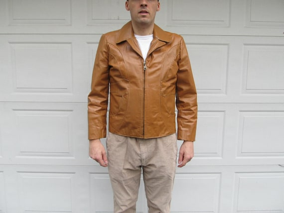 1970s Men's Vintage leather jacket, caramel leathe