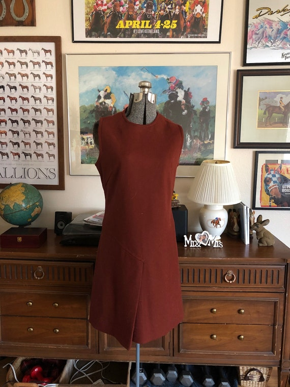1960s vintage rust wool sheath dress, S/XS