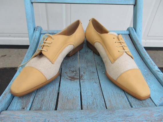 Vintage Oxfords, yellow leather and cream canvas,