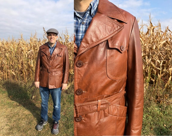 1970s Men's Vintage leather jacket, Brazilian leat
