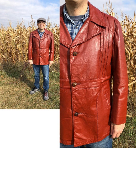 1970s Men's Vintage leather jacket, red leather ja