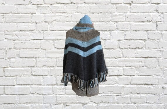 Vintage hand knit matching poncho and beanie, smal