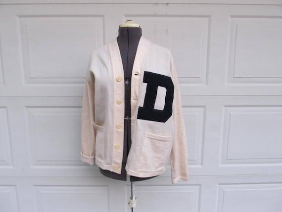 "1950s mens vintage letter sweater, ""D"", wool lette"