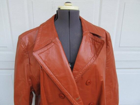 1970er Jahre Herren Vintage Lederjacke, Superfly Cognac Jacke, hergestellt in Brasilien, groß