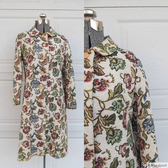 Vintage 1960s tapestry coat, floral coat, small