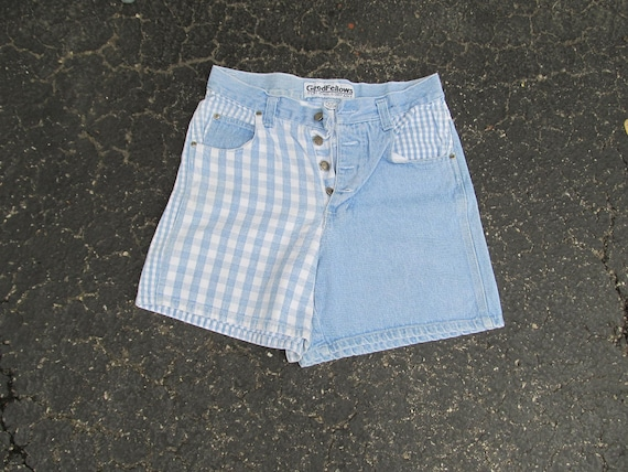 1990s Vintage denim button front shorts with check
