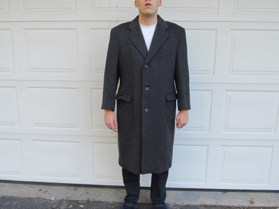 1960s mens long wool coat, dark gray coat, wool, m