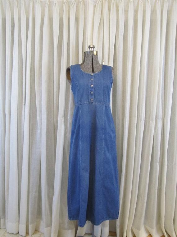 1990s vintage chambray maxi dress, soft denim dres